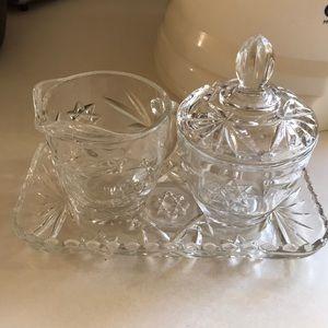 Four piece glass sugar and creamer set
